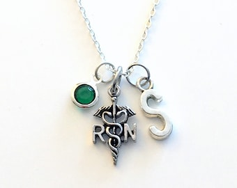 Gift for RN Nurse Jewelry, Silver Nurse's Necklace, Registered Nurse Symbol Charm RN Caduceus Symbol initial birthstone Birthday Present her