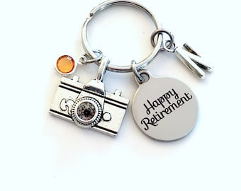 Retirement Gift for Photographer Keychain, Photo Technician Present, Photography Key chain with letter Initial Retire camera present man her