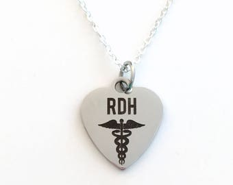 Gift for Registered Dental Hygienist Jewelry, RDH Necklace, Dentist Graduation Birthday Present Birthstone initial letter her silver him men