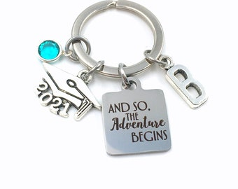 2021 Graduation Gift for Her Keychain / And so the adventure begins Key Chain / Grad Keyring Present / Graduate Son, Daughter, Girlfriend