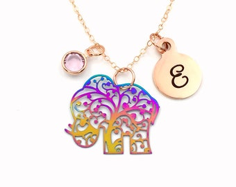 Elephant Necklace, 14K Rose Gold Jewelry, Electroplated Stainless Steel Rainbow Charm,  Gift for Mother's Day Present her, Family Filigree