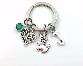Bunny Keychain, Rabbit Key Chain, Daughter Keyring, Animal Birthday present, Easter Gift for Teenage Girl Teen her, Farmer's Gift Farm