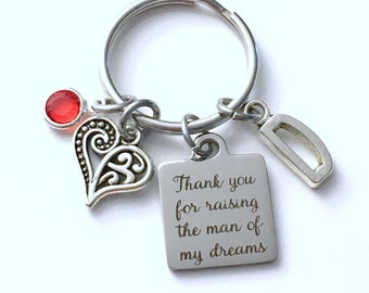 Gift for Mother in Law Keychain, Thank you for raising the man of my dreams Key Chain, Initial Letter Mom's Day Present Jewelry Groom Dad