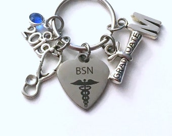 Graduation Gift for BSN Keychain, 2019 Bachelor of Science in Nursing Key chain Nurse Keyring her women letter initial Scroll stethoscope