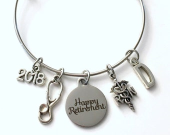 Retirement Gift for Women RN Nurse, 2018 or 2017 Charm Bracelet Jewelry Silver Bangle Coworker Head initial initial Present woman Nursing
