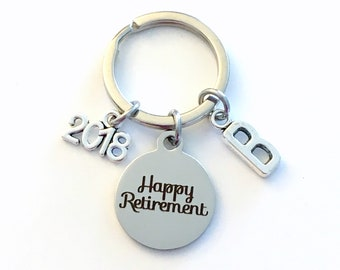 Retirement Keychain for Men, Him or Her 2018 Happy Retiring Present Coworker Key chain Gift for Boss Keyring Initial letter custom Dad 2019