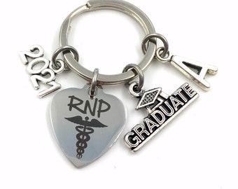 RNP Graduation Gift Key Chain, 2021 Registered Nurse Practitioner Gift for RPN Keyring Medical Stethoscope Keychain Grad Student 2022