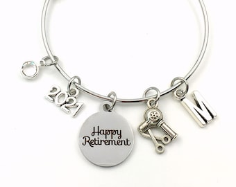 Retirement Gift for Hairdresser Jewelry / 2021 Hair Stylist Charm Bracelet / Salon Owner Present / Women hair comb / Silver Bangle Coworker