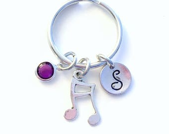 Music Keychain, Gift for Band Geek student, Musician present Double Musical Note Charm Keyring Silver Key Chain Personalized birthstone her