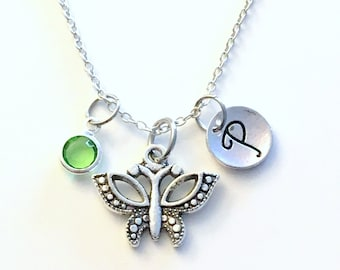 Butterfly Jewelry, Little Girl Necklace, Butterflies Silver Charm, Personalized Custom Granddaughter Gift for Teenager Girl Teenage Daughter