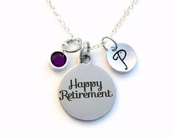 Happy Retirement Necklace, Jewelry Gift for Women Present, Retire Charm Boss initial birthstone ladies Mom Aunt Sister Long short chain 925