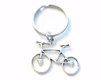 Bicycle KeyChain, Gift for Bicyclist keyring, Bike Key chain Key Ring Present Jewelry Silver Charm Pendant Man man Boy Athlete women her him