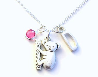 Koala Bear Necklace, Gift for Little Girl Boy Jewelry, Sloth Zoo Animal Silver charm Initial Birthstone present Short Long Chain Sterling
