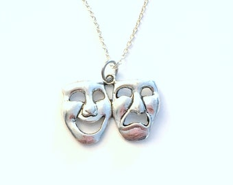Theater Mask Necklace, Drama Actress Actor Gifts, Symbol comedy tragedy Jewelry, Pewter Silver Charm Stage Manager Pendant Long Short 225