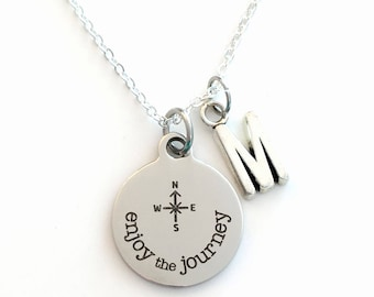Gift for Best Friend Moving Away Jewelry, Enjoy the Journey Necklace, Retirement Present Birthstone initial letter her Graduation silver him
