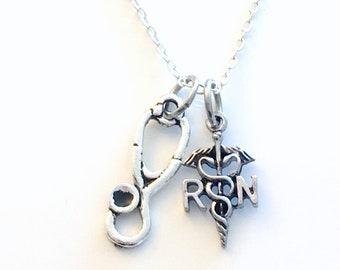 RN Necklace, Gift for RN Nurse's Jewelry, Registered Nursing Charm Pendant Stethoscope for man men Medical Caduceus emblem dad son nephew