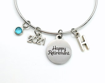 2021 Retirement Gift for Women / Retired Jewelry / Present for Mom Sister Aunt Grandmother Charm Bracelet Jewelry / Silver Coworker Bangle