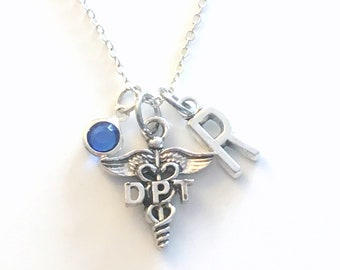 DPT Gift, Doctor of Physical Therapy Necklace, Therapist Jewelry, Silver Caduceus Charm Personalized present for men women him her Canadian