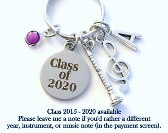 Musician Graduation Gift for Music Student Keychain, Band Geek Present Clarinet Graduate him her teen class of 2015 2016 2017 2018 2019 2020