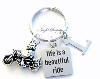 Life is a beautiful ride KeyChain, Motorcycle Keyring, Biker's Key chain, Gift for Man or women, Father's Day Gift mom initial letter custom