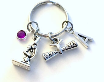 Graduation Gift for Lab Tech Keychain, Science Teacher Key chain, Microscope Scientist Keyring Initial letter men women her him birthstone