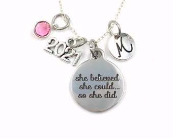 Graduation Gift for her / 2021 Grad Necklace / She Believed she could so she did Jewelry / Graduate Present Accomplishment her Retirement