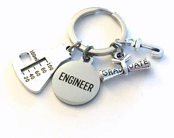 Chemical Engineering Graduation Gift Keychain / Engineer Chemist Key Chain / Chemistry Science Student Graduate Keyring / Beaker Equipment