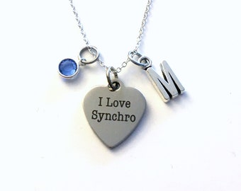 Gifts for Synchronized Swimming Necklace / I love Synchro Jewelry / Swimmer Swim Team Present / Silver Charm / Thank you Gift for Swim Coach