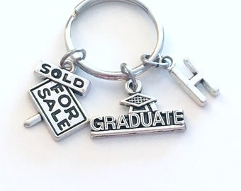 Realtor Graduation Present, Real Estate Agent Keychain, Gift for Student Graduate women men Key Chain Grad Keyring Initial her him