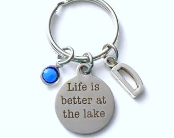 Lake Keychain, Life is better at the Lake Key Chain, Cottage House Keyring, birthday Gift for Christmas Present Vacation Lakehouse him Dad