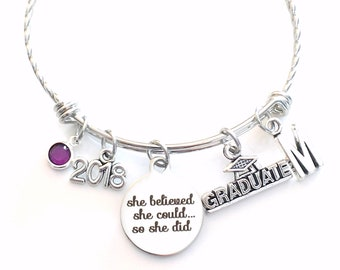 She believed she could so she did Stainless Steel Graduation Charm Bracelet 2018 Gift for Graduate Jewelry Bangle Grad Present twisted fancy