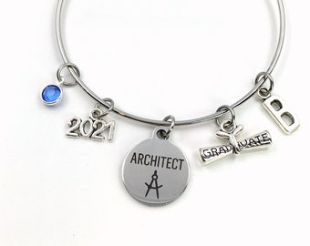 Graduation Gift for Architect, 2021 Architectural Technology Charm Bracelet Grad Silver Bangle Jewelry letter birthstone women her