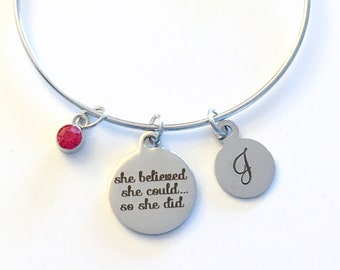 Motivational Jewelry, Gift for Daughter Charm Bracelet, Stainless Steel Bangle Birthday Present She believed she could so she did can quote