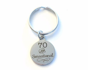 Gift for Seventy Birthday Keychain, 70 and Sensational Key Chain 70th him Birthstone Initial Present Jewelry Mother Women Men Dad Fabulous