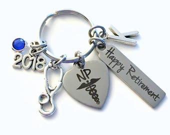 Retirement Gift for NP Keychain, 2018 Nurse Practitioner Keyring, Nursing Retire Key Chain, Present him her women Stethoscope charm woman