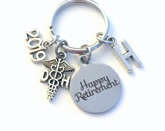 Retirement Gift for DH Keychain 2019 Caduceus Dental Hygienist Assistant Key chain Keyring Retire Coworker Initial letter 2020 Dentist
