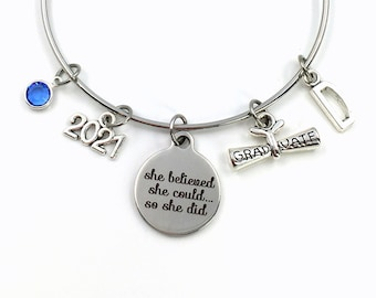 Graduation Gift for Her, Grad Charm Bracelet, Class of 2021 High School Graduate Jewelry, She believed she could so she did College