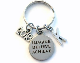 Imagine Believe Achieve Keychain, 2018 Gift for Him Key chain, Keyring women letter initial custom Men College University New Job Promotion