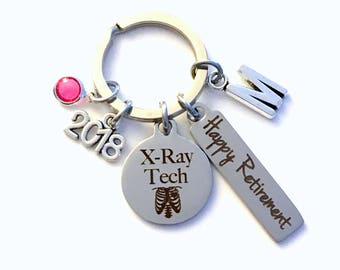 XRay Tech Retirement Gift Key Chain, 2018 X-Ray Technician Keychain for Women Men Retire, Radiologist Key Chain Keyring him her Personalized
