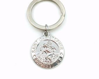 St Christopher Key Chain / Gift for New Driver Keyring / Saint Christopher Keychain / Present for Safe Travel / Religious men son her him