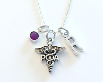 PA Gift, Physician assistant Necklace, Doctor Jewelry, Silver Caduceus Charm Personalized present for men women him her Canadian Seller shop