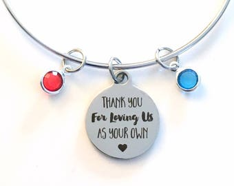 Grandmother Jewelry with Birthstone Charm Bracelet, Gift for Step Mother, Thank you for loving us as your own Me Present Mom 2 3 4 5 6 7 8 9