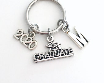 Graduation Gift for him Keychain, Graduate Key Chain, 2020 with Initial, or her Grad Keyring letter Customized men Teenage boy Teen man 2021