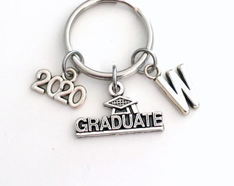 Graduation Key Chain, Gift for Grad Keyring, Graduate Keychain, Present Student 2020 personalized customized with letter initial 2020 2021