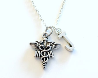 MA Necklace, Gift for Medical Assistant, Physician Jewelry, PA Silver Caduceus Charm Personalized birthday present for men women her assist