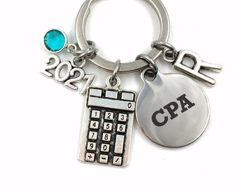 2021 Graduation Gift for Accountant / Retirement CPA Key chain / Chartered Professional Accountant Present / Calculator Keychain CPA present