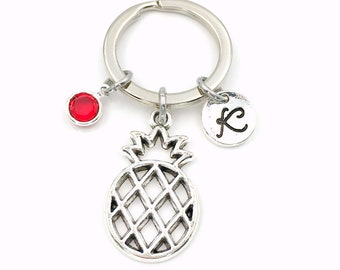 Pineapple Keychain, Pine apple Keyring, Gift for Fertility Good luck Present, Food Key Chain, initial her ttc Personalized ivf Fruit Silver