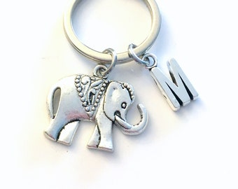 Elephant Key Chain / Silver Elephant Keychain / Gift for Best Friend Present / Zoo Animal Keyring / Strength and Friendship symbol BFF