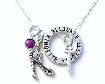 Ringette Necklace, Girl's Jewelry, Gift for Teammate Player Silver Circle Charm, letter initial Canadian sellers PEI Little Young Teenage