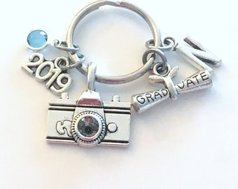 Graduation Present for Photography Student KeyChain, Photographer's Key Chain Camera, Grad Keyring Media Initial Birthstone him her Graduate